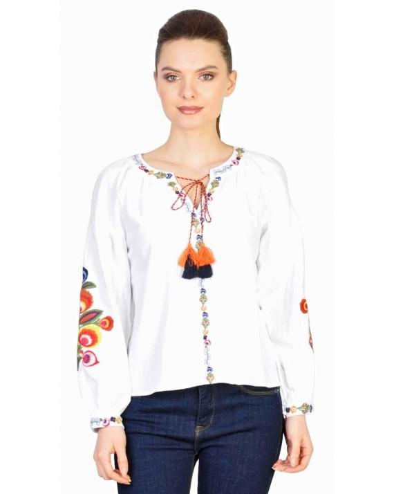 Bluza alba casual cu broderie colorata 020 A