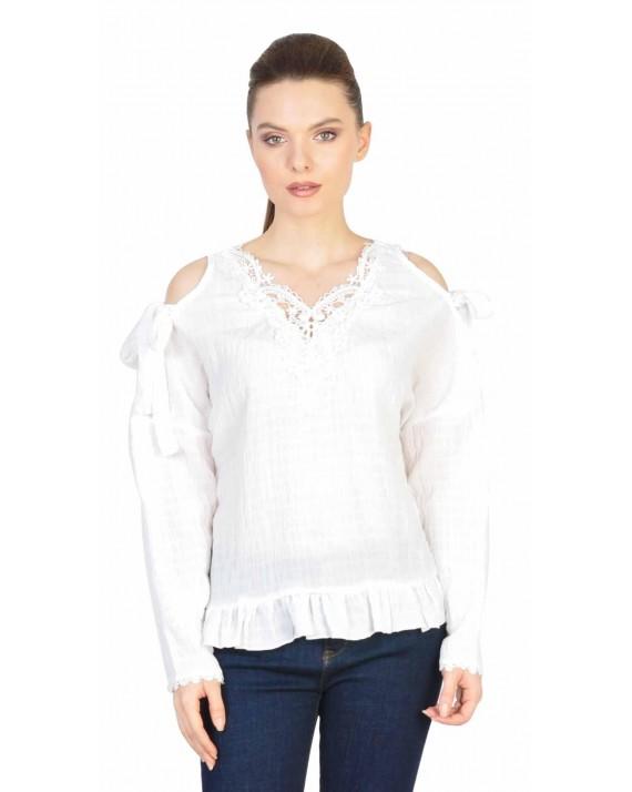 Bluza alba casual cu maneca lunga 3050 A