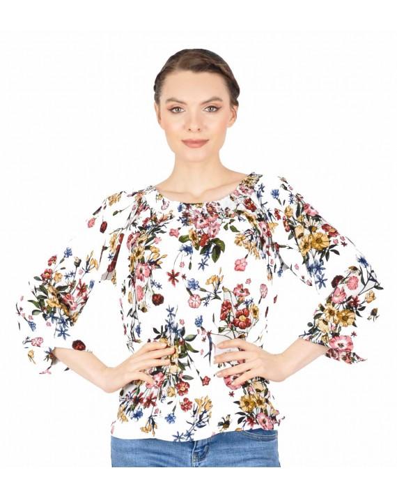 Bluza alba casual cu print floral 2609 A