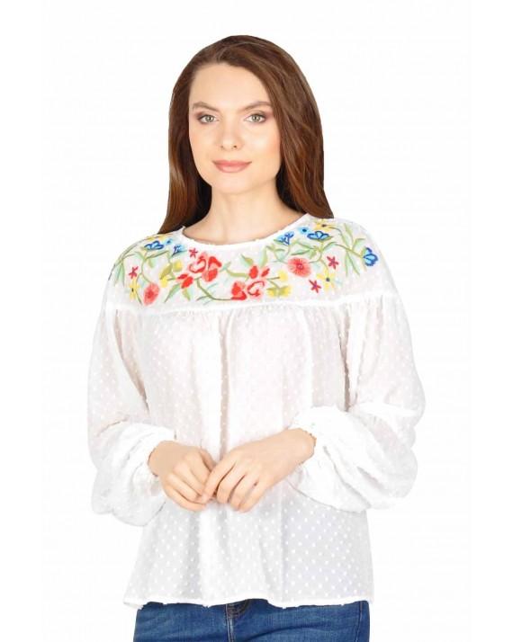 Bluza alba eleganta din voal cu flori brodate 10022 A