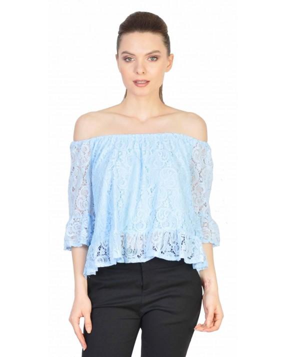 Bluza bleu din dantela cu maneca trei sferturi 5373 BL