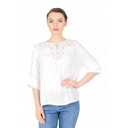 Bluza casual alba cu broderie florala 06Y123 A