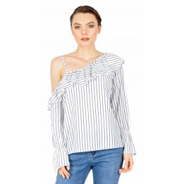 Bluza casual alba cu dungi si umar gol BC160 A
