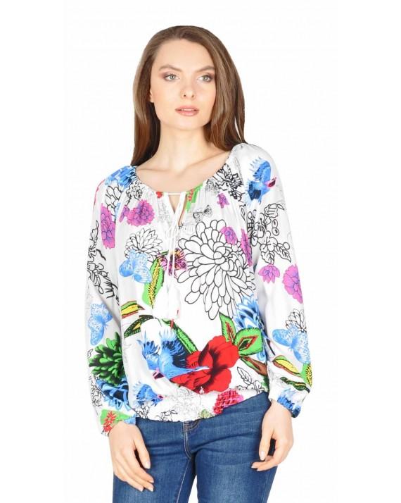 Bluza casual alba cu flori si pasari Y183 A