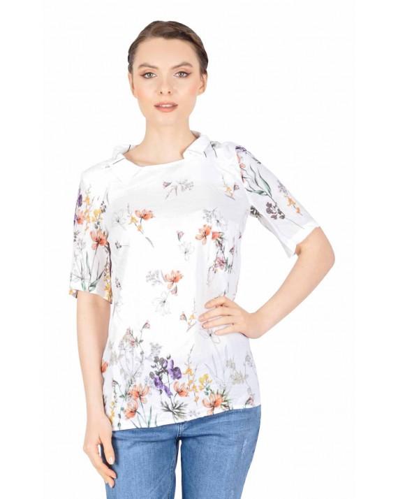 Bluza casual alba cu imprimeu floral BC168 A