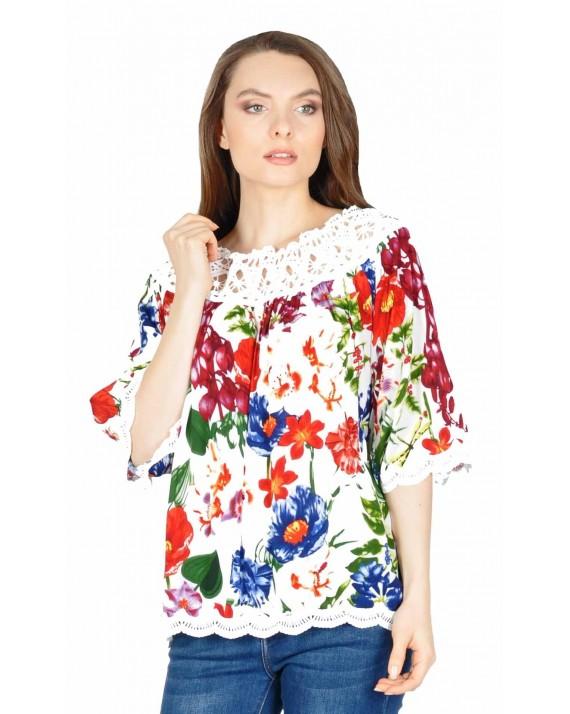 Bluza casual alba cu imprimeu floral TW788 A