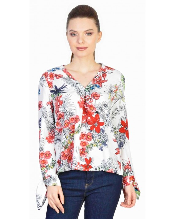 Bluza casual alba cu print floral 1628 A