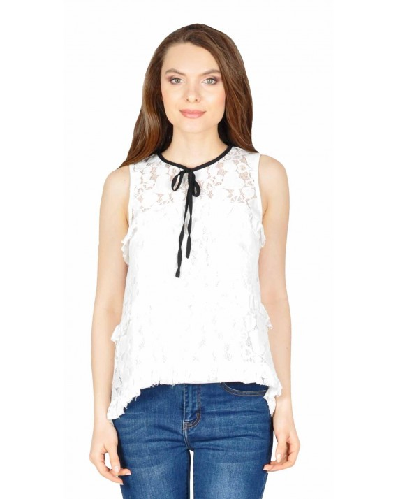 Bluza casual alba din dantela florala W1623A