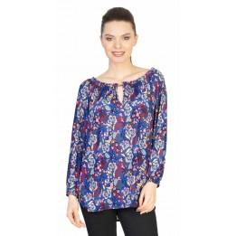 Bluza casual albastra cu print floral 17001
