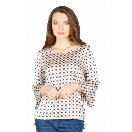 Bluza casual bej cu imprimeu geometric S101153 B