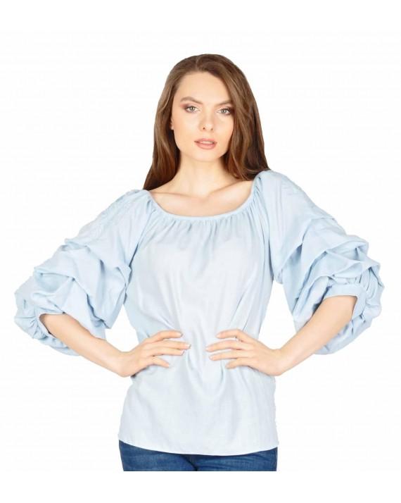Bluza casual bleu cu maneca incretita 5113 B