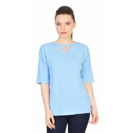Bluza casual bleu cu perle si tull 5271BL