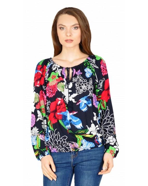 Bluza casual bleumarin cu flori si pasari Y183 BM