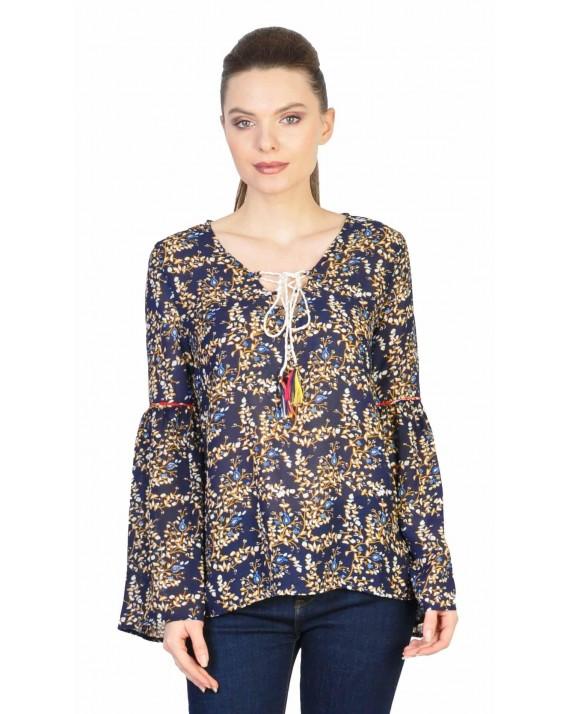 Bluza casual bleumarin cu imprimeu crengute 31306 BM