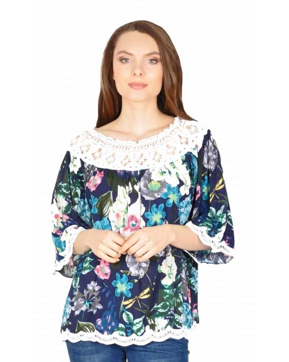 Bluza casual bleumarin cu imprimeu floral TW788 BM