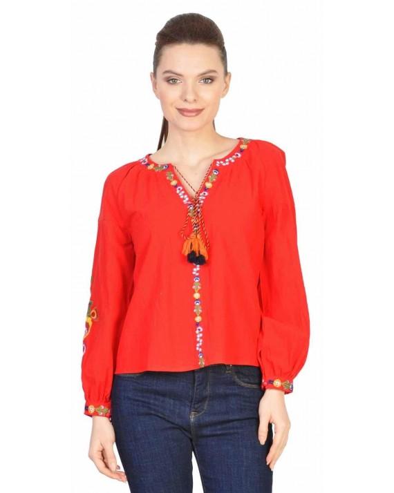 Bluza casual cu broderie colorata 020 ROSU