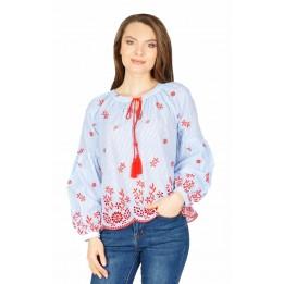 Bluza casual cu dungi si broderie rosie W2412