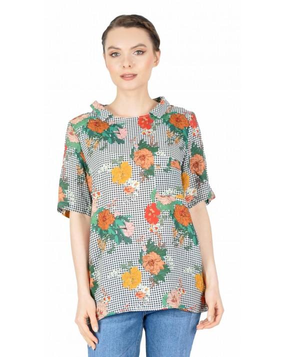 Bluza casual cu patratele si print floral BC168 VERDE/FL