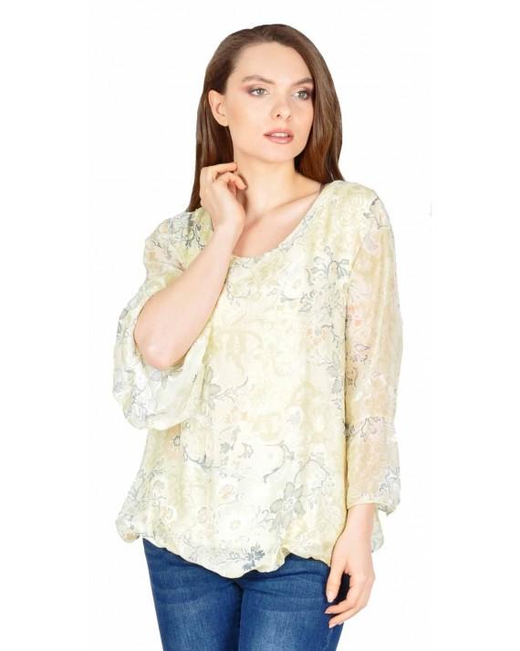 Bluza casual galben cu print floral 08219 G