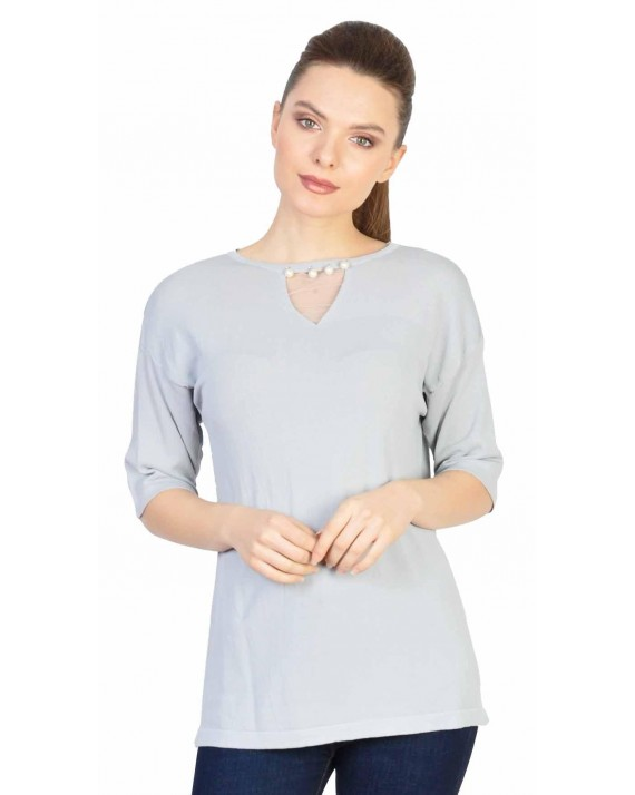 Bluza casual gri cu perle si tull 5271G