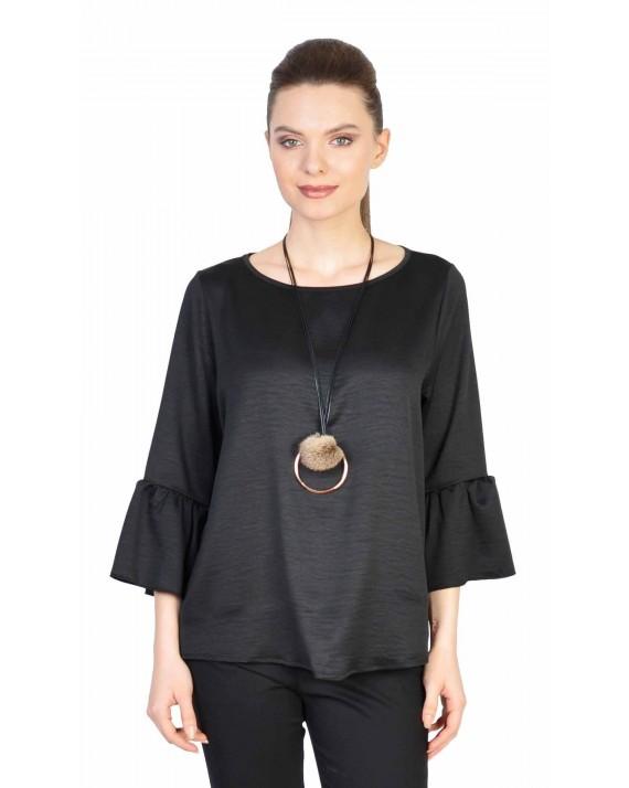 Bluza casual neagra cu accesoriu 750247N