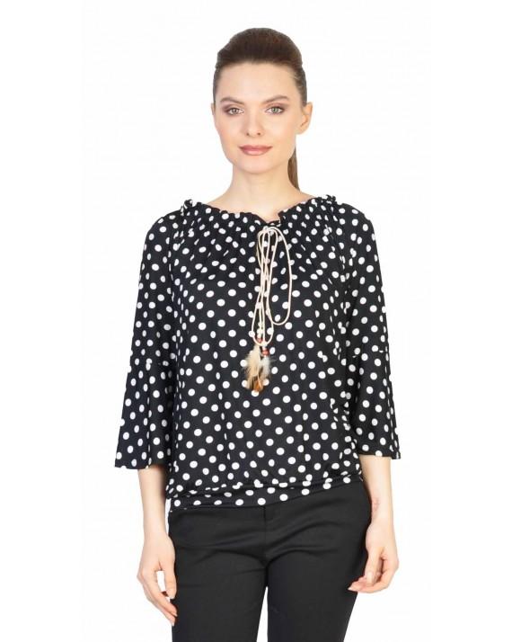 Bluza casual neagra cu buline 1909 NG