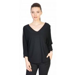 Bluza casual neagra cu maneca decupata 1898 NG