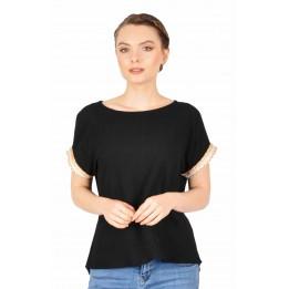 Bluza casual neagra cu maneca scurta 333 NG
