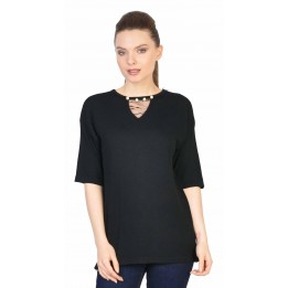 Bluza casual neagra cu perle si tull 5271 NG