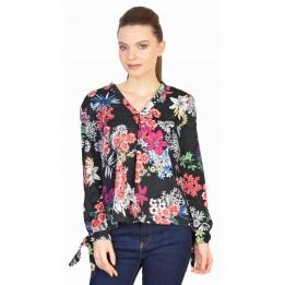 Bluza casual neagra cu print floral 1628 N