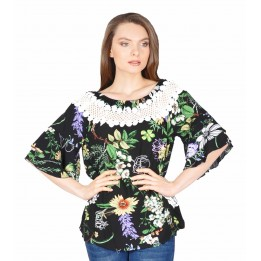 Bluza casual neagra cu print floral si broderie Y116 NG