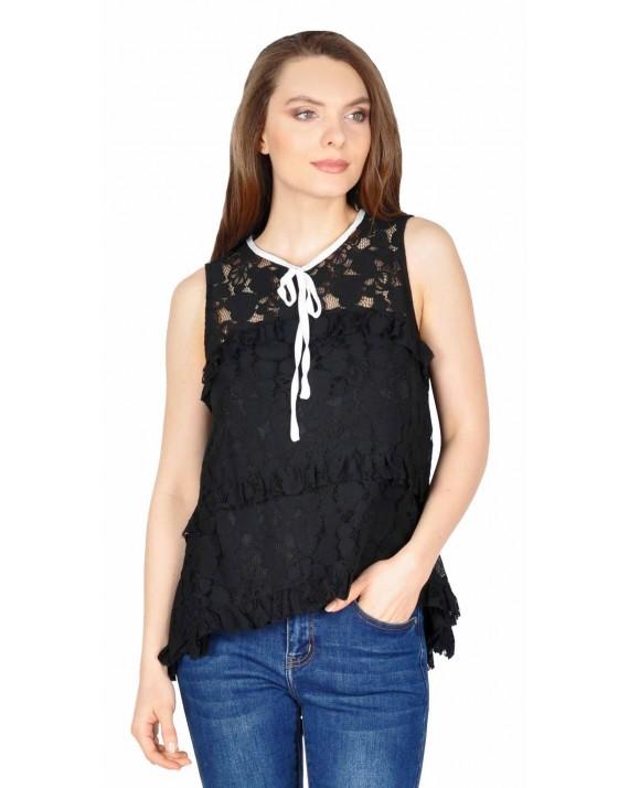 Bluza casual neagra din dantela florala W1623N