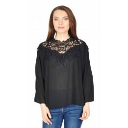 Bluza casual neagra din voal cu maneca lunga 87697 NG