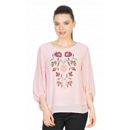 Bluza casual roz cu broderie florala ST155 R