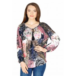 Bluza casual roz cu imprimeu feriga Y260 R