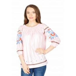 Bluza casual roz cu maneca brodata K10002 R
