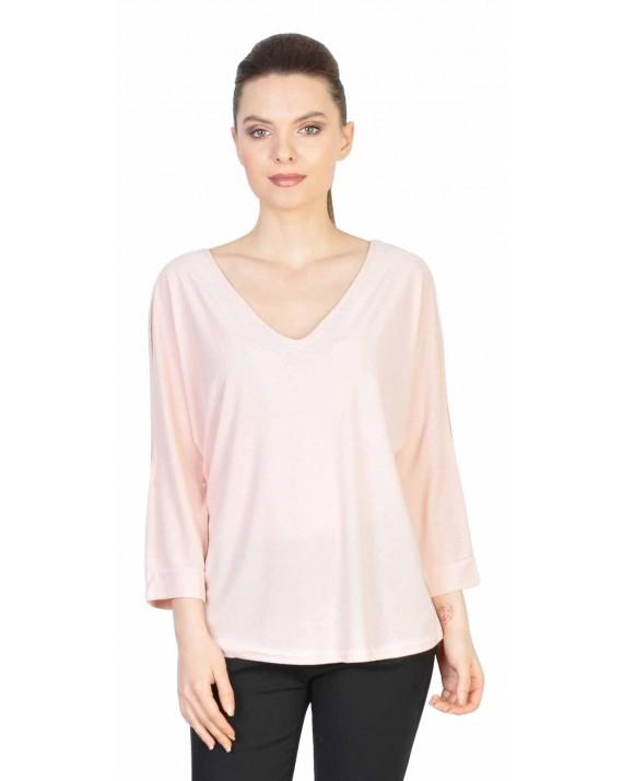 Bluza casual roz cu maneca decupata 1898