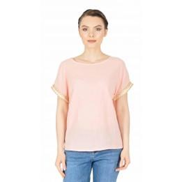 Bluza casual roz cu maneca scurta 333R