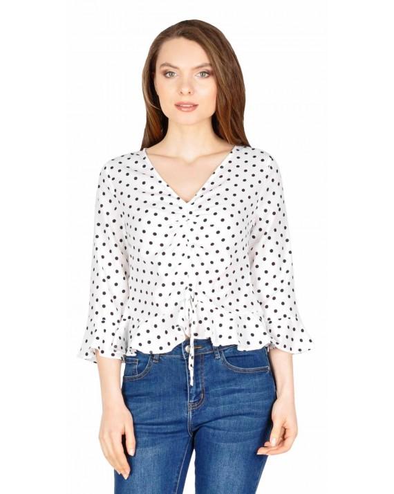 Bluza casual scurta alba cu buline 11863