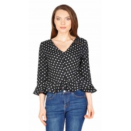 Bluza casual scurta neagra cu buline 11863 NG