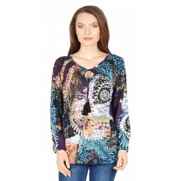 Bluza casual turcoaz cu imprimeu feriga Y260 T