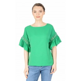 Bluza casual verde cu broderie maneca Q333 V