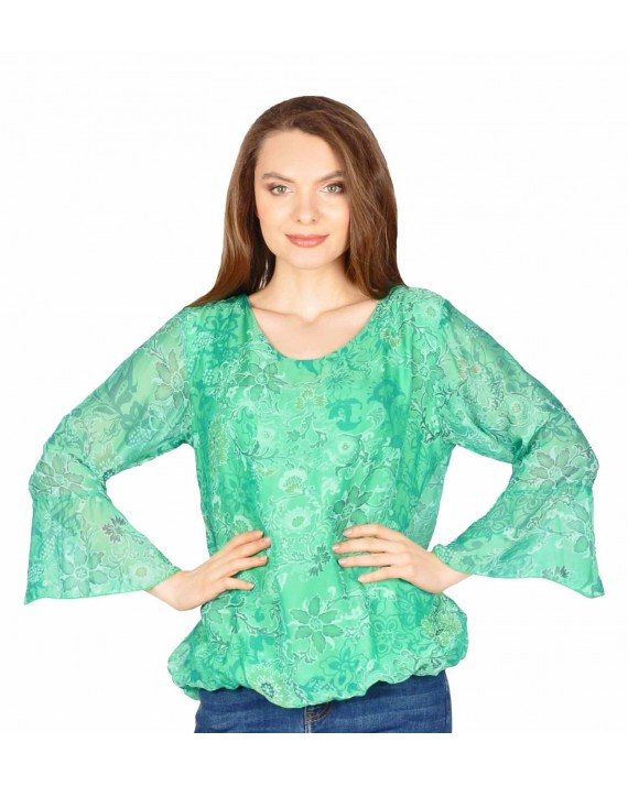 Bluza casual verde cu print floral 08219 V