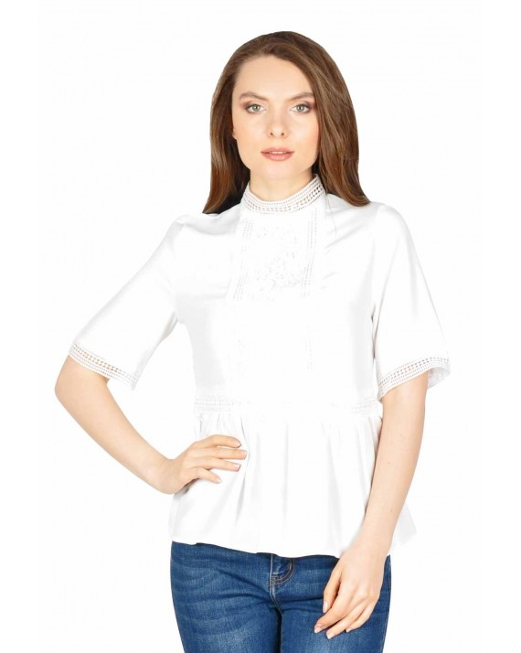 Bluza eleganta alba cu insertii din dantela brodata W2413A