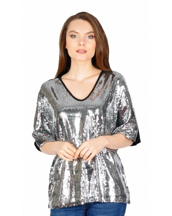 Bluza eleganta cu paiete argintii 17819 AG