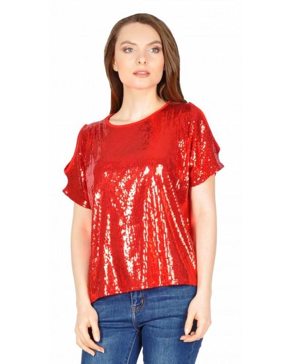 Bluza eleganta cu paiete rosii 17773 R