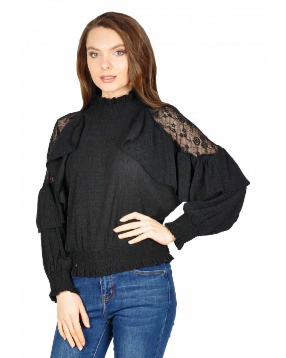 Bluza eleganta neagra cu striatii si volan 8380 N