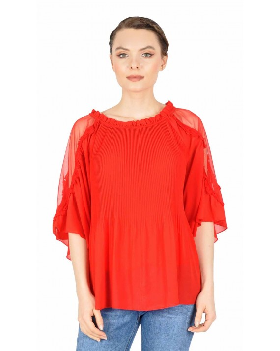 Bluza eleganta rosie din voal plisat 2330 R
