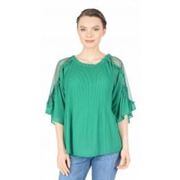 Bluza eleganta verde din voal plisat 2330 V