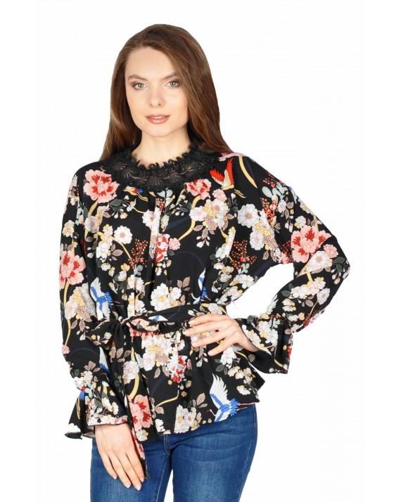 Bluza neagra casual cu flori si pasari M77176 NG